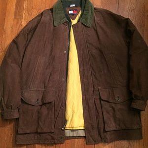 Vintages 90s Tommy Hilfiger Brown suede parka